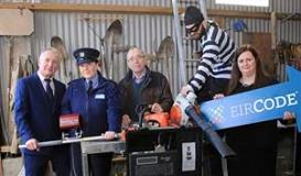 James O'Neill, Property Marking Ireland, Garda Antoinette Prior, Charlie Shanley, local farmer, acting burglar and Karen Dwyer, Eircode - showcasing the Property Marking machine at a local farm in Killeshandra, Cavan.